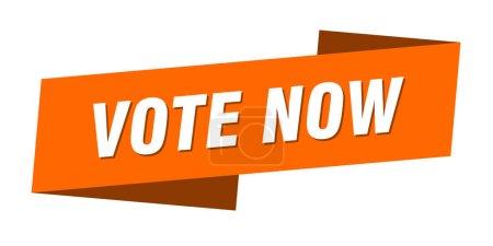 Foto de Vote now banner template. votación ahora signo de la cinta - Imagen libre de derechos