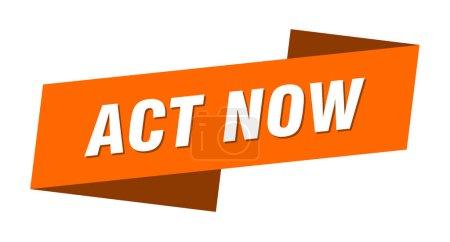Foto de Actuar ahora banner plantilla. actuar ahora signo de cinta - Imagen libre de derechos