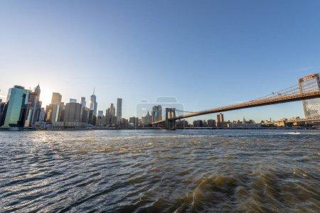 Photo for Manhattan Skyline and Brooklyn Bridge. - Royalty Free Image