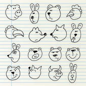 Cute hand drawn animal heads isolated on a notebook page