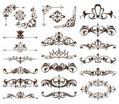 Vintage frames corners borders with delicate swirls in Art Nouveau for decoration and design works with floral motifs vintage style with beautiful floral elements Vector ornaments antique style