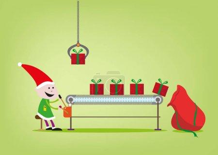 Illustration pour Illustration d'un opérateur de machine elfique pour l'usine de cadeaux du Père Noël - image libre de droit