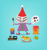 Illustration of a  Smiling Painter Elf with Toys and Art Materials for Santa Claus' giftgiving