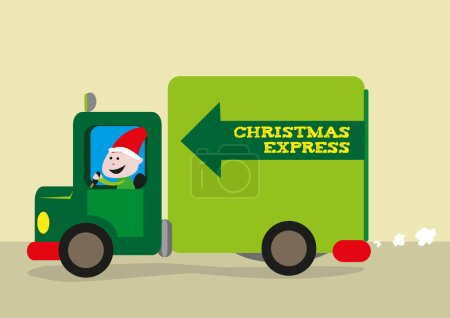 Elf Drives a Delivery Van for Santa Claus giftgiving logistics
