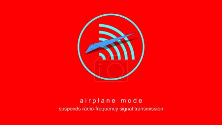 Photo pour Illustration with reference to Standalone, Offline, or Airplane mode. Graphic in red background. Icon, button with paper plane with text suspends radio-frequency signal transmission. - image libre de droit