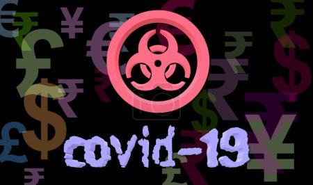Photo pour Impact of COVID-19 on the economy. The Yuan, the Yen, Euro, Pound Sterling, Dollar and Indian Rupee currency symbol. Biohazard. Virus. Colorful 3d illustration with randomly placed coins. - image libre de droit