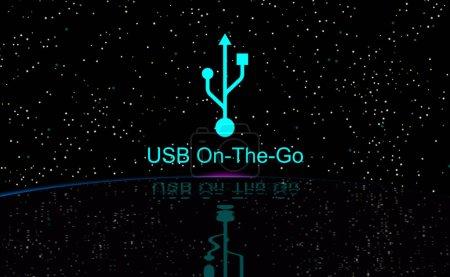 USB On-The-Go, OTG. Host und Gerät. Symbol am Firmament und Spiegelungen auf dem Wasser. Illustration, Dunkelheit und Sterne. Elegantes Design mit dem Universal Serial Bus Schild. Modernste Technologie