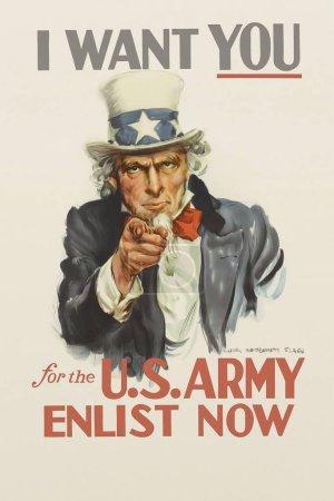 Photo pour États-Unis d'Amérique Uncle Sam mascotte classique de l'armée de guerre affiche et message de recrutement milicien, américain, histoire du patrimoine propre et ressassé - image libre de droit