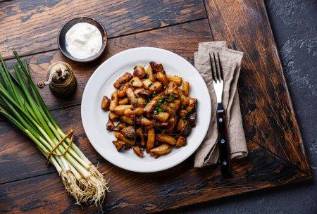 Photo pour Pommes de terre rôties aux sauvages de cèpes dans le pan de fer noir - image libre de droit
