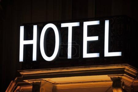 hotel sign taken in Paris at night