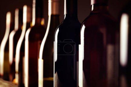 Bottles of old aged wine