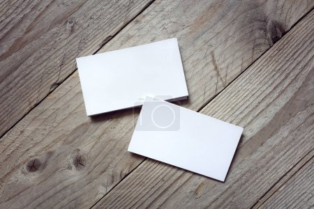 Photo for Business cards for branding identity on wood background - Royalty Free Image