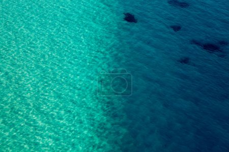 Photo for Sea water smooth surface, ocean reflection sun, view above water 40 meter - Royalty Free Image