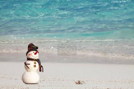 Photo for Smiling snowman with and small crab relaxing on tropical beach. New Years and Christmas holidays in hot countries concept. - Royalty Free Image