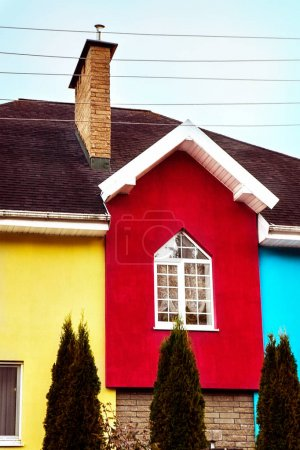Photo for Multicolored facade of a modern house. Red, yellow and blue colors - Royalty Free Image