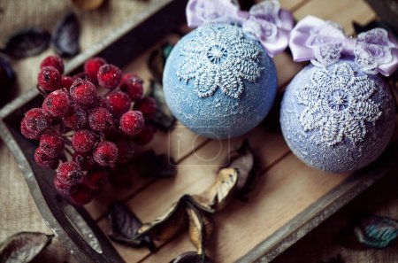 Christmas decoration on the wooden vintage background