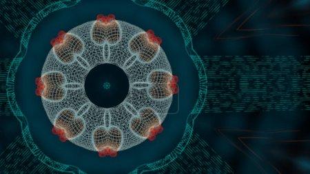 Foto de Vibrando los antecedentes. Abstract 3d grid or mesh round pattern of geometric network over dark blurred background.. - Imagen libre de derechos