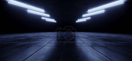 Foto de Sci Fi Futuristic Concrete Cement Asphalt Blue Glowing Laser Lights Led Night Club Stage Garage Underground Podium Car Parking Showroom Alien Cyber 3D Rendering Illustration - Imagen libre de derechos