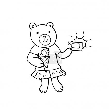 Photo for Hand drawn sketched illustration of cartoon bear with ice cream and photo camera. Funny animal. Coloring book, card, poster element - Royalty Free Image