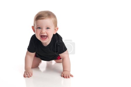 Baby Boy Crawling and Laughing