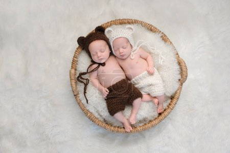Two month old, boy and girl fraternal twin babies....