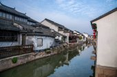 Suzhou City Luzhi town bridges people