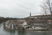 Panoramic view on the magnificent old town of Bern, capital of S