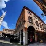 Modena, Italy, Piazza Grande square, fish-eye imag...