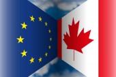 European Union versus Canada flags