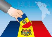 Moldova elections ballot box with flags