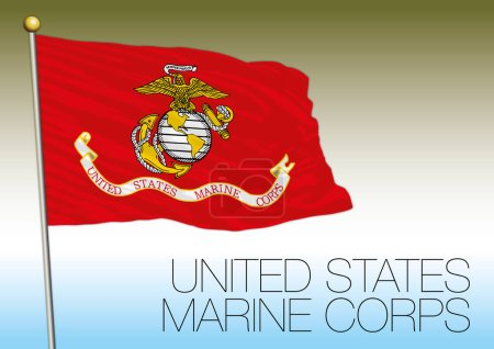 Illustration pour Drapeau des Marines, États-Unis, fichier vectoriel, illustration - image libre de droit