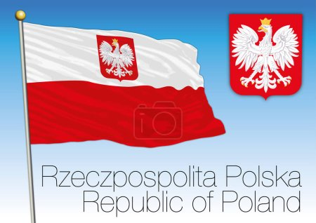 Republic of Poland, civil flag and coat of arms