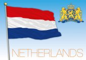 Kingdom of The Netherlands flag and coat of arms vector file illustration