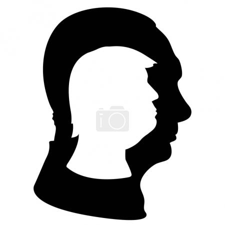 Photo for Vladimir Putin and Donald Trump silhouettes, vector file, illustration - Royalty Free Image