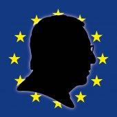Jean-Claude Juncker silhouette portrait with European flag vector file illustration
