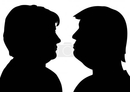Angela Merkel and Donald Trump silhouettes