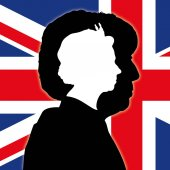 Theresa May and Queen Elizabeth II silhouette portraits with UK flag