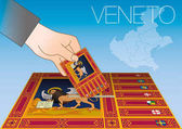 Veneto ballot box with flag and map Italy