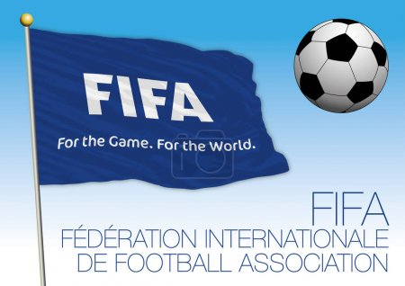FIFA blue flag and ball drawing, Russia 2018