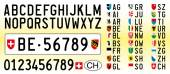 Switzerland car plate letters numbers and symbols