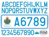 San Marino Republic car plate letters numbers and symbols