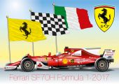 Ferrari Formula 1 SF70H with flags, vector file, illustration
