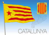 Catalunya flag coat of arms and map Spain vector file illustration