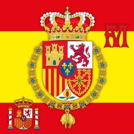 Spain, Coat of arms of King of Spain Felipe IV with flag & monogram