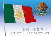Mexico presidential flag and coat of arms Estados Unidos Mexicanos