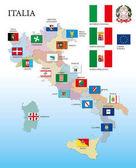 Italian regional map with regional flags vector illustration