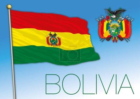 Illustration pour Drapeau officiel Bolivie avec armoiries, illustration vectorielle, Amérique du Sud - image libre de droit