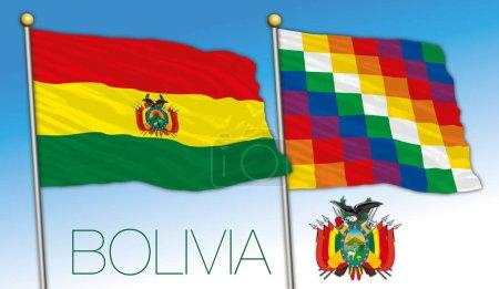 Illustration pour Drapeaux officiels Bolivie et Wiphala avec armoiries, illustration vectorielle, Amérique du Sud - image libre de droit
