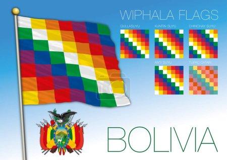 Illustration pour Drapeaux officiels Wiphala et armoiries boliviennes, Bolivie, illustration vectorielle - image libre de droit