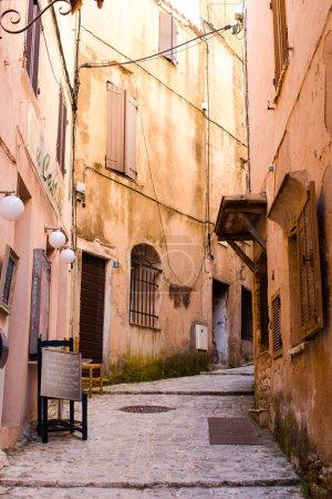 Old beautiful empty narrow streets in small city of Bonifacio in Corsica